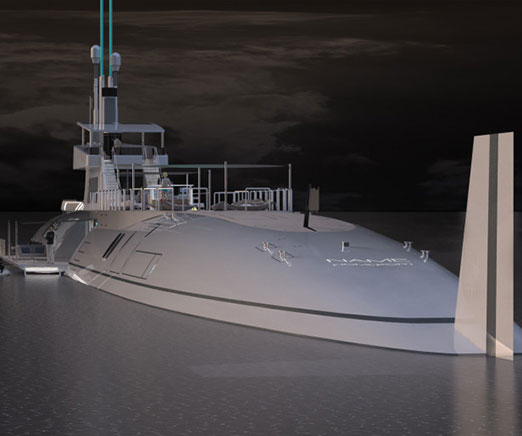 The Migaloo submarine super yacht takes extravagance to new depths by giving passengers the option of traveling on or under the water's surface. Measuring 377 feet long, it houses everything from a bar to a two-story penthouse and helipad.