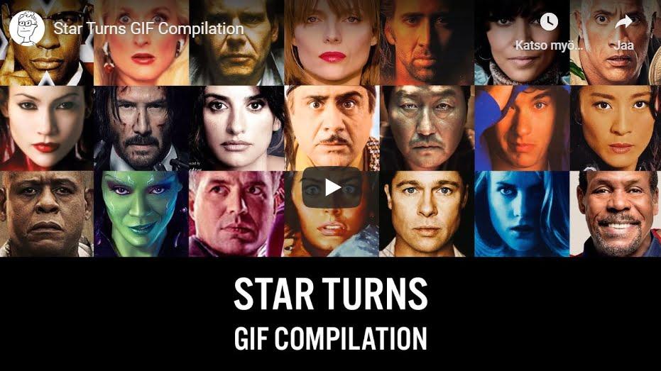 Kääntyviä kasvoja elokuvajulisteita yhdistellen