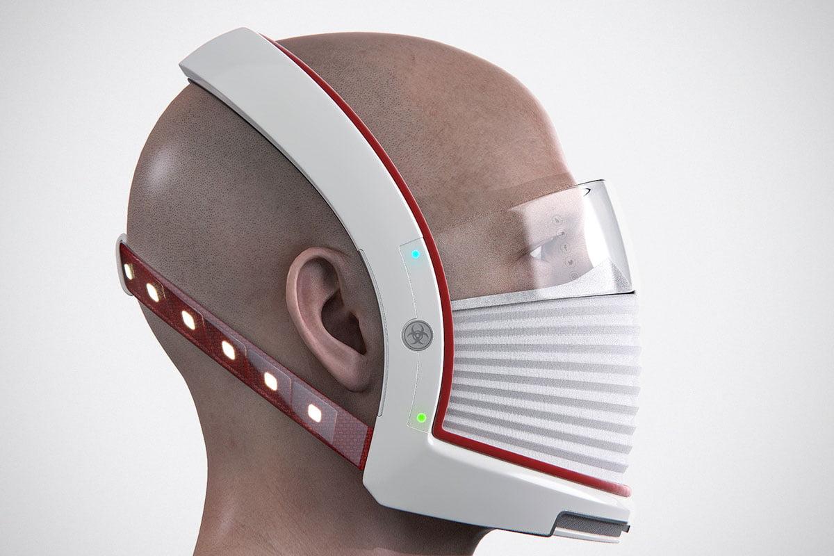 Elon Mask - sekä hengityssuoja että visiiri ylhäällä