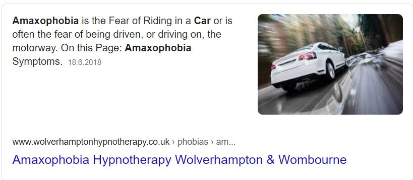 Amaxophobia is the Fear of Riding in a Car or is often the fear of being driven, or driving on, the motorway. (http://www.wolverhamptonhypnotherapy.co.uk/phobias/amaxophobia.html)