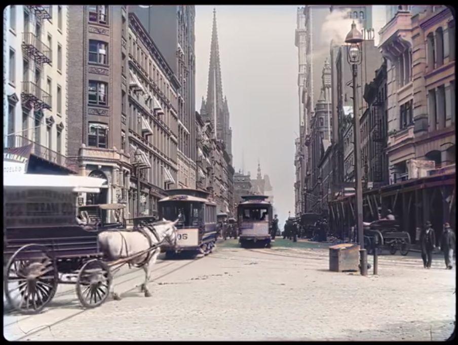 Broadway 1896 - väritetty ja äänet lisätty