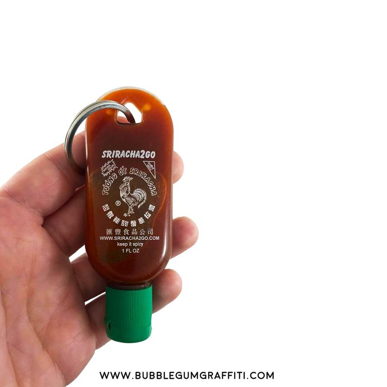 ETSY / Hot sauce keychain, hot sauce party favors, hot sauce gift, affordable gifts, small gifts, sriracha keychain, unique party gifts,