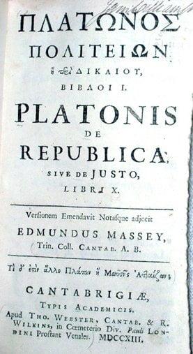Platonin Valtion latinankielisen painoksen kansilehti vuodelta 1713.