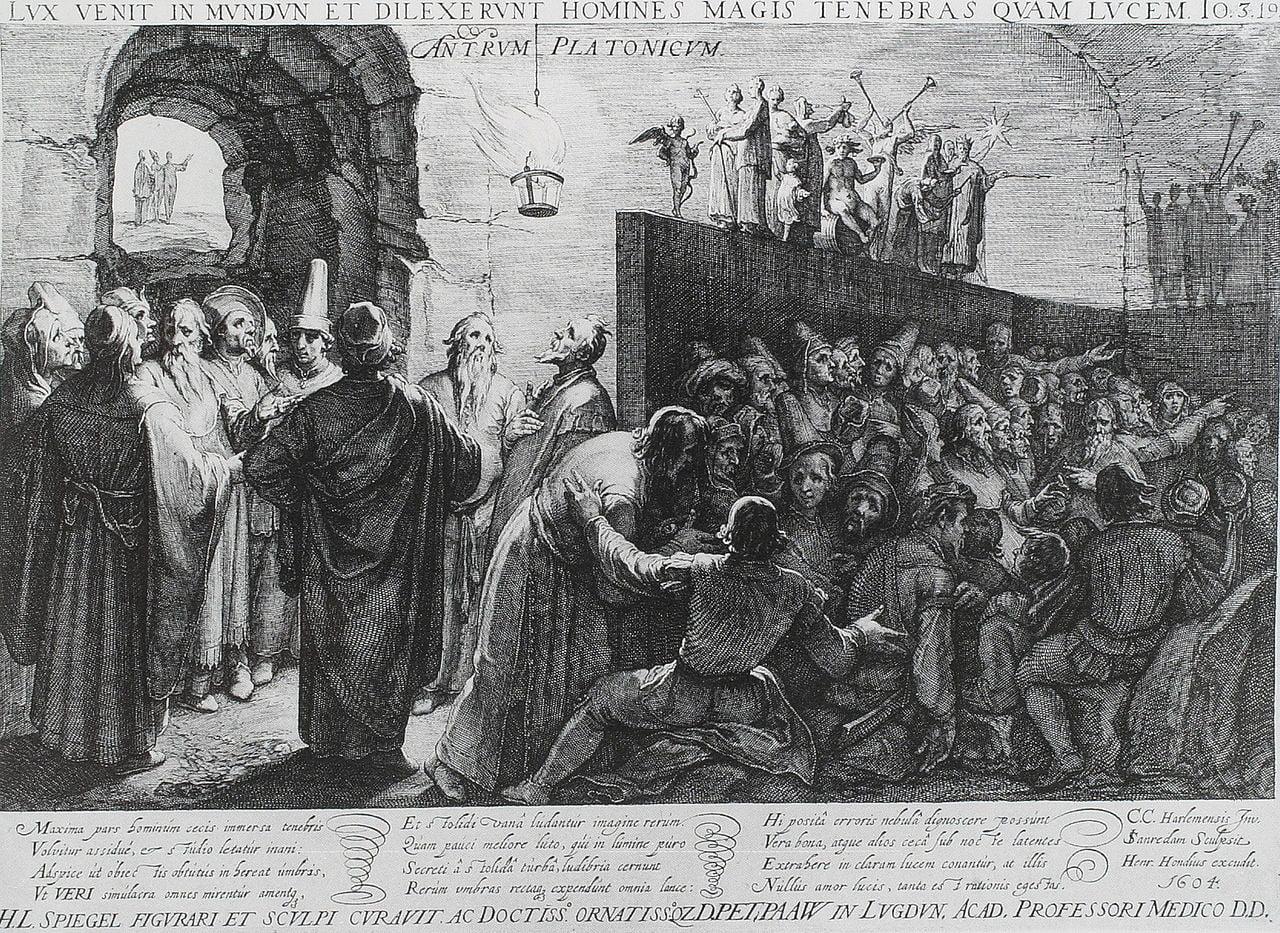 Platonin luolavertaus Jan Saenredamin kuparipiirroksessa Cornelis van Haarlemin mukaan, 1604.