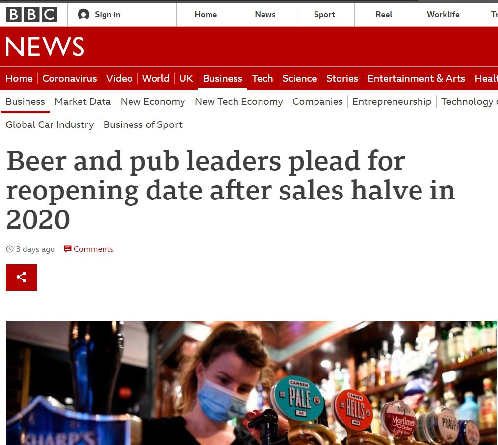 Beer and pub leaders plead for reopening date after sales halve in 2020