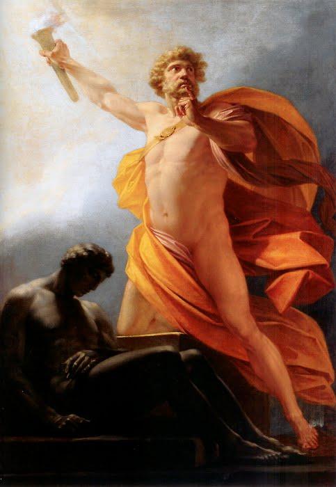 Prometheus tuo tulen ihmisille. Heinrich Friedrich Fügerin maalaus.