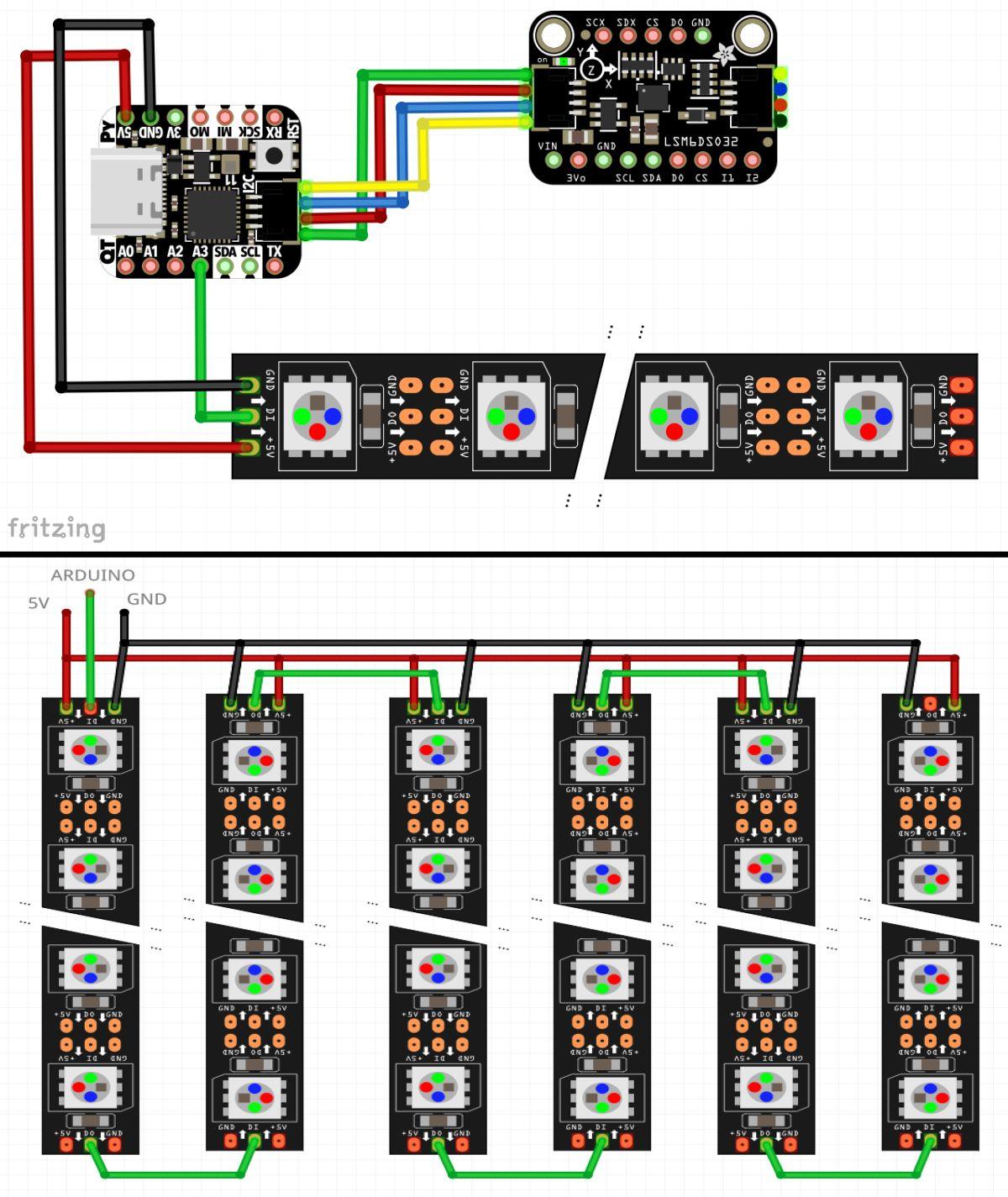 Neopixel LED Skirt - Kytkennät