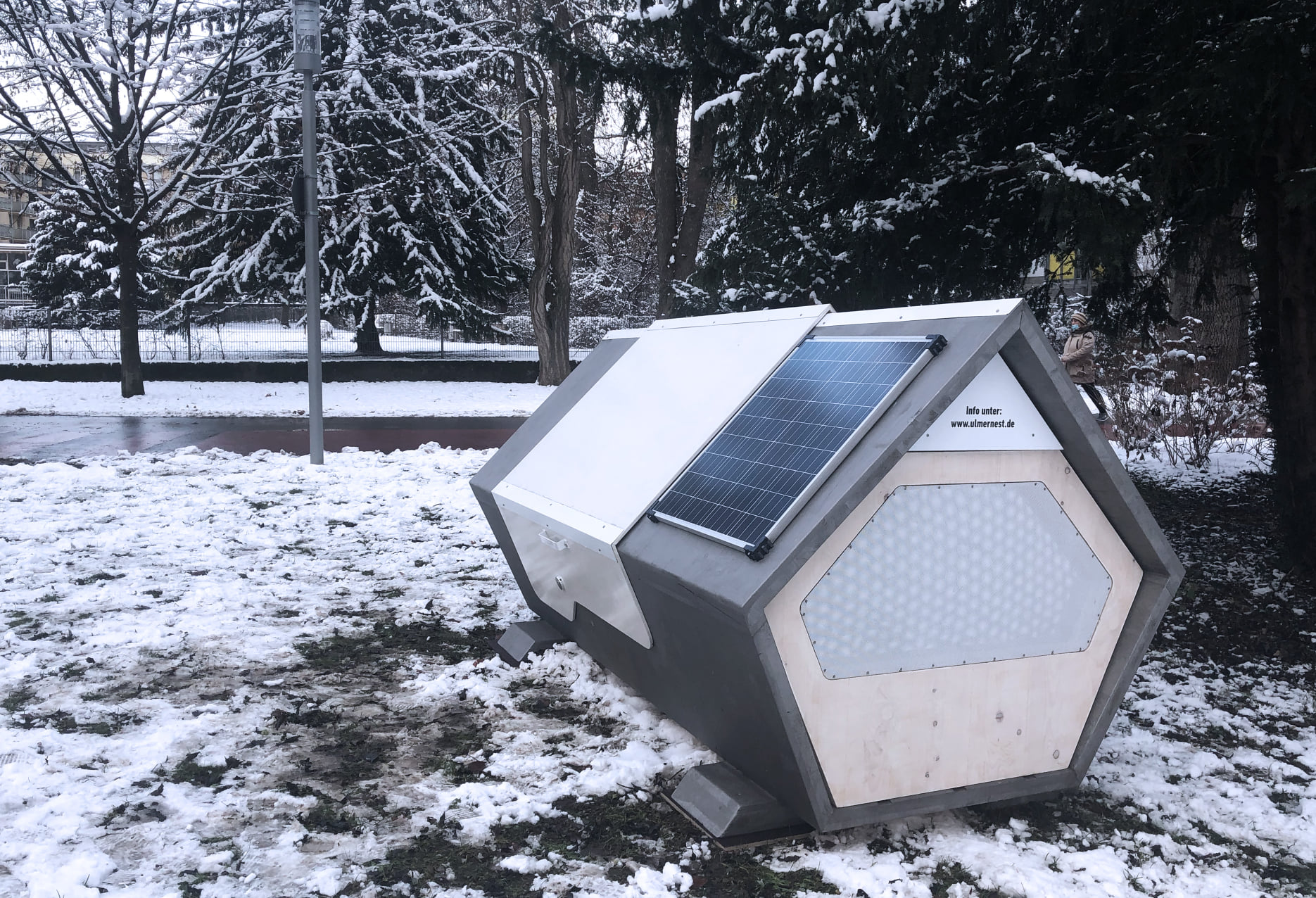 This German City Has Two Solar-Powered Capsules To Help Homeless People Stay Warm