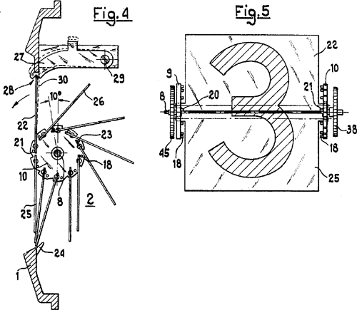 Schematic of a split-flap display in a digital clock display